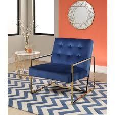 Overstock Armchair Abbyson Glasgow Navy Blue Metal And Velvet Accent Chair Free