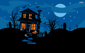 kiddie halloween background house background clipart
