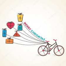 bicycle with colorful gift box vector or merry concept