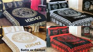 versace bedding set queen black gold red white silver satin sheet