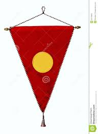 Flag Triangle Stylish Red Pennant Or Triangle Flag Empty Space Stock Photo