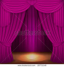 scene purple curtains curtain velvet drapes stock vector 287731148