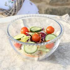 Decorative Fruit Bowl by Bella Perle Luxury Toughened Glass Dessert Side Plate With Beaded