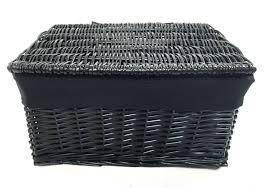 grey laundry hamper white grey lidded wicker storage toy box empty xmas hamper basket