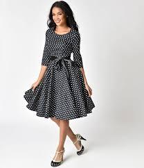 black and white dresses 1940s style black white polka dot cotton sleeved swing dress