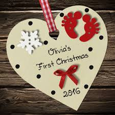 1st Christmas Decorations Personalised Baby U0027s First 1st Christmas Bauble Heart Tree
