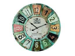 Pendules De Cuisine Originales by Out Of The Chateau Bois Bleu Horloge Murale 79 3173 Amazon Fr