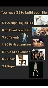 Build Your Meme - you have 3 to build your life 100 high paying job 50 good social