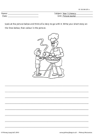 primaryleap co uk picture prompt father and son cooking worksheet