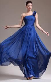 gorgeous royal blue a line princess one shoulder floor length