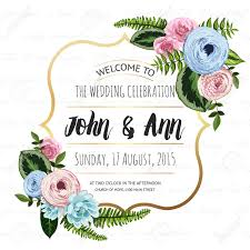 wedding backdrop vector wedding invitation card with painted flowers and plants on