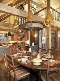 interior shabby chic house interior with rustic wooden dining