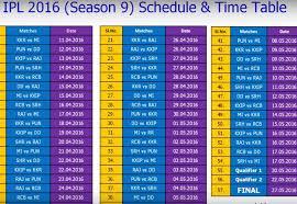 2016 Ipl Match List | ipl match schedule 2016 youtube