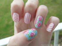 and this is the finished shabby chic vintage rose nail art design