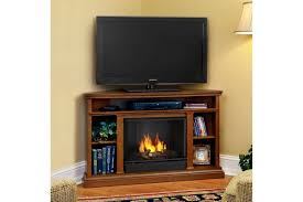 Corner Tv Stands With Electric Fireplace by Furniture Brown Wooden Corner Media Cabinet With Fireplace And