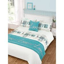 Teal Duvet Cover Love Bed In A Bag Duvet Set Double Size Bedding Bedroom Linen