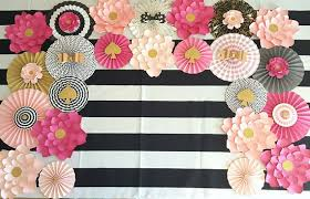 paper fan backdrop pink black gold backdrop paper fans and paper flower