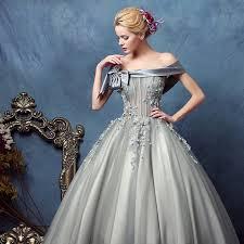 off the shoulder silver grey satin ruttle a line princess dress