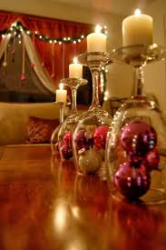 christmas table centerpiece wine glasses candle stand pink tree