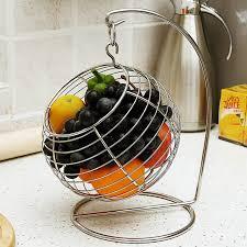 metal fruit basket shaped stainless steel swing and hanging fruit basket