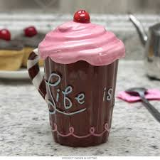 frosted cupcake ceramic mug with lid novelty coffee mugs