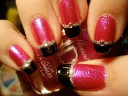 funky pink and black nails linz lacquer