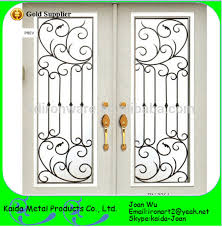 new design ornamental iron glass door grilles inserts wholesale
