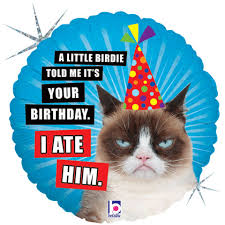 birthday balloons for him grumpy cat balloons birthday better with age nope i ate him