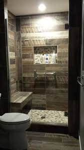 bathroom towel rail and stone walk in shower plus glass block