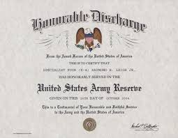 honorable discharge certificate us army reserve honorable discharge certificate