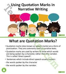 quotation marks in narrative writing lesson plan u2013 teach starter
