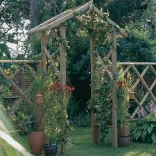 forest garden rose arch trellice side panels rustic half log timber