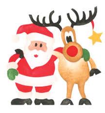 small santa and deer wall stencil