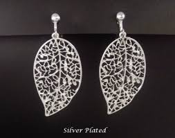 clip on earrings australia clip on earrings costume silver plated leaf design fashion