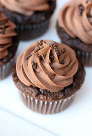 chocolate cupcakes with chocolate buttercream frosting all