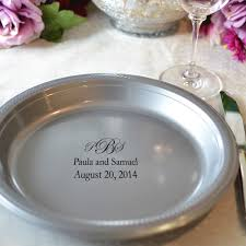 silver wedding plates 10 in custom printed disposable plastic plates