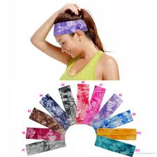 tie dye headbands fashion 2 inch tie dye cotton stretch headbands sports girl