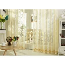 Sheer Embroidered Curtains Leaf Pattern Embroidery Lace Beige Sheer Curtains