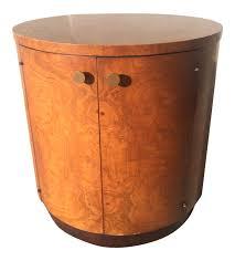 mid century olive burl wood drum table bar cabinet chairish