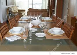 dining room with table setting stock image i1144625 at featurepics