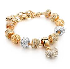 european bracelet images Crystal heart of gold custom european charm bracelet for girls JPG