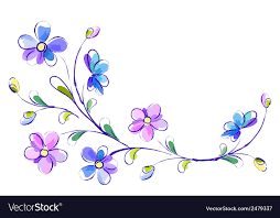 white and blue flowers horizontal white background with blue flowers vector image