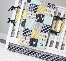 Woodland Nursery Bedding Set by Woodlands Crib Bedding Navy Deer Grey Arrow Mustard Tee Pees
