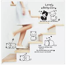 Bathroom Decals For Kids Creative Gifts Lovely Baby Cat Diy Wall Sticker Home Decor Cartoon