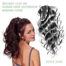 banana clip for hair look of int l 333h human hair banana comb ponytail