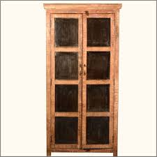 Narrow Storage Cabinet Furniture Light Brown Stained Pine Wood Narrow Storage Cabinet