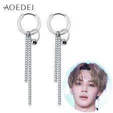bts earrings aoedej bts jimin earrings long tassel hoop earrings men women