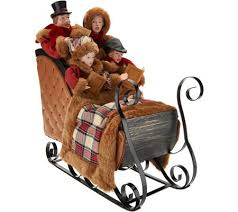 set of 4 dickens carolers in chestnut sleigh by valerie page 1