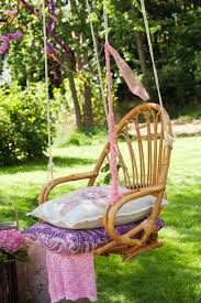 Patio Chair Swing Cut The Legs Off Of A Rattan Chair Add Rope And You Have An
