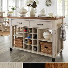 kitchen island with eleanor two tone rolling kitchen island with wine rack by inspire